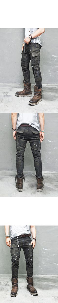 Bottoms :: Pants :: L Ready) Vintage Oil Wash Rugged Camo Cargo-Pants 130 - Mens Fashion Clothing For An Attractive Guy Look
