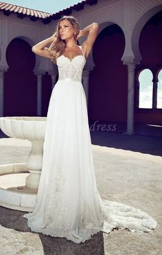 Elegant A-line Beach Straps Wedding Dress/Bridal Dress,Long Bridesmaid Dress/cheap Wedding Dress, bridesmaid dress/Wedding Gown