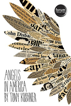 """Forum Theatre wanted an emotionally relevant, politically-charged poster for its production of Tony Kushner's award-winning play Angels in America. The challenge: incorporate wings, but be original. The solution: use hand-drawn text and hand-draw and fill the wings with actual newspaper clippings from that time."" 24 x 36, 4-color, offset."
