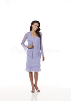 Mermaid Long Sleeves pleated Chiffon Mother of the Bride Dresses - Gopromdress.co.uk