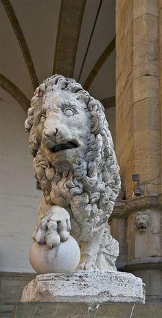 Medici lion by Giovanni di Scherano Fancelli.Loggia dei Lanzi. Florence.Italy.