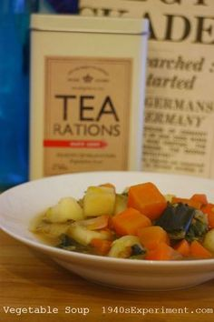 Here's a pretty standard quick wartime recipe for vegetable soup. I'm all for making dinners cheaply but sometimes you have to take a short cut now and again, especially if your life is… Retro Recipes, Vintage Recipes, Quick Recipes, Cooking Recipes, Frugal Recipes, Wartime Recipes, Vegetable Soup Recipes, Frugal Meals, Family Meals