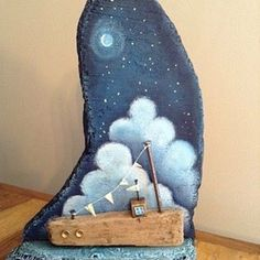 Night Boat by Claire Brierley #driftwood #wood #upcycle #reclaimed #boat #art