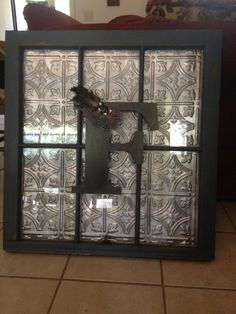 Old windoe with Embossed background and Monogram Home Upgrades, Dream Decor, China Cabinet, Frames, Crockery Cabinet, Chinese Cabinet, Frame