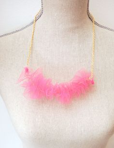 Pom Pom Pink Tulle bunched Statement Necklace by luniacstyle, $22.00