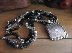 Western Jewelry Silver and Black Necklace by TheCrystalCorral