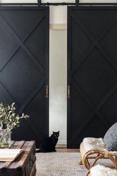 Industry Sliding Door – Modern Home Office Design Kitchen Sliding Doors, Wooden Sliding Doors, Sliding Door Design, Sliding Closet Doors, Diy Slides, Interior Design Minimalist, Contemporary Interior, Modern Design, Room Divider Doors