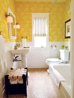 In a smaller space like a bathroom, consider using yellow for only part of the wall space and using a more muted shade.