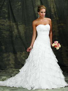 Classic Romantic White $$ - $701 to $1500 Ball Gown Beading Empire Floor Organza Reflections by Jordan Ruching Ruffles Sleeveless Spaghetti Straps Strapless Sweetheart Wedding Dresses Photos & Pictures - WeddingWire.com