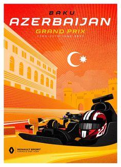 Renault Sport Team poster van Grand Prix in Azerbeidzjan Vintage Racing, Vintage Ads, Vintage Posters, Grand Prix, Formula 1, Sport F1, Motor Sport, Nascar, Baku City