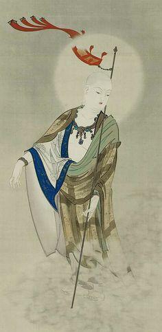 Jizo, the Bodhisattva of the Earth Matrix.  Main detail of a hanging scroll; ink and color on silk,  1845, Japan by artist Kikuchi Yosai. MFA