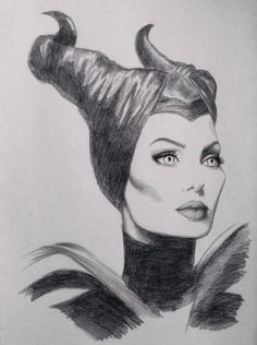 Disney Maleficent sketch Angelina Jolie by Chloe Murphy #drawing #disney