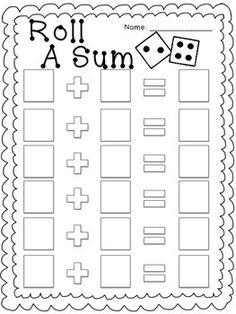 FREEBIE Roll A Sum- Addition Game. Good practice for beginning addition Kindergarten Math Games, Preschool Games, Math Classroom, Teaching Math, Learning Activities, Teaching Resources, Free Games For Kids, Math For Kids, Addition Games