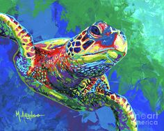 Sea Turtle Painting - Giant Sea Turtle by Maria Arango