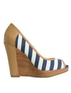 striped peep-toe wedge