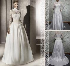 Vintage Ivory High Collar Long Sleeves by Loveannaweddingdress, $299.00