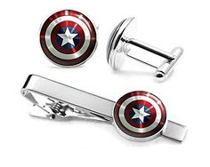 Captain America Cufflinks, The Avengers Jewelry, Shield Tie Clip, Superhero Wedding Party and Groomsmen Gift Gifts, Geek Geeky Present Presents -- For more information, visit image link.
