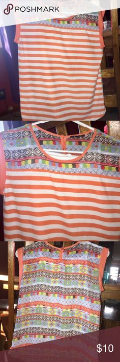 Girls Youth larger shirt with attached white Tank. Very nice orange and white stripe shirt with sherry material aztec print on shoulders and back. Has an attached white Tank Top! No stains or rips shirt is like new and super cute Shirts & Tops Blouses