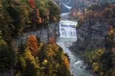 Rzeka Genesee, Wodospad, Drzewa, Park stanowy Letchworth, Stan Nowy Jork, Stany Zjednoczone, Skały, Jesień