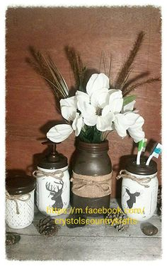 Check out this item in my Etsy shop https://www.etsy.com/listing/471602121/mason-jar-4-piece-bathroom-set-deer-doe