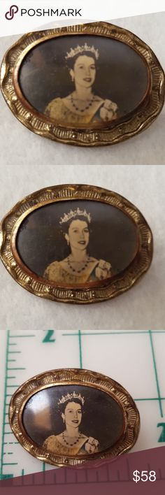 "Vintage Brooch Queen Elizabeth ll Silver plate Showing a Bit of Wear - Original Seipia Picture Taken in 1953 When She Was Crowned ~ Any Glare in the Pictures is Due to the Protection Over the Picture ~ This Piece Has a ""c"" Clasp Indicating Age ~ Your Jewelry Will Arrive Gently Wrapped in a New Jewelry Pouch or if you Prefer a 2 pc Rigid Gift Box Lined with Ultra White Synthetic Cotton ~ Questions Please Ask ~ Offers Encourged or Bundle 2 or More Items For a Private Discount ~ Thanks so much…"