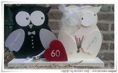Hochzeitseulen, Eulen- Hochzeit, Brautpaar Holz von Handgemachte Holzarbeiten & dekorative Geschenke by Alexandra Sangs auf DaWanda.com