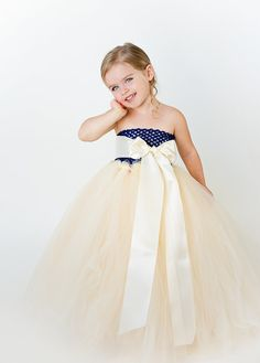 Flower Girl Tutu Dress in Beige and Navy by TheLittlePeaBoutique, $115.00