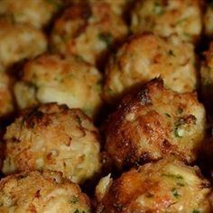 Maryland Crab Balls:  I might lessen Old Bay and add finely chopped onion, celery, and red pepper!