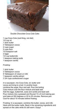 Double Chocolate Coca Cola Cake - we made this and it is yummy! Pemberton Double Chocolate Coca Cola Cake - we made this and it is yummy! Just Desserts, Delicious Desserts, Yummy Food, Custard Desserts, Southern Desserts, Custard Recipes, Baking Recipes, Cake Recipes, Dessert Recipes