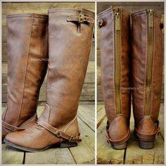 Montana Skye Tan Strap Riding Boots