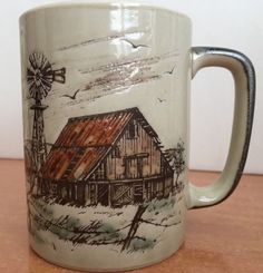 Otagiri Mug Coffee Japan Cup Vtg Tea Stoneware Hand Design Embossed Farm #Otagiri