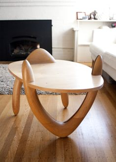 Boomerang Table. Laminated Ash/ Walnut Legs With Clear Maple Top