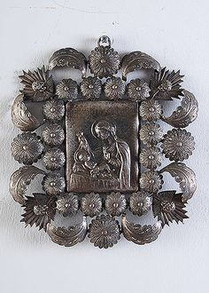 Italian Antique Repousse Silver Ex-voto with Image of Madonna and Child