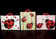 Set of 3 Red Mod  Ladybug Girls 8x10 Stretched Canvases Kids Bedroom Baby Nursery CANVAS Bedroom Wall Art on Etsy, $60.00