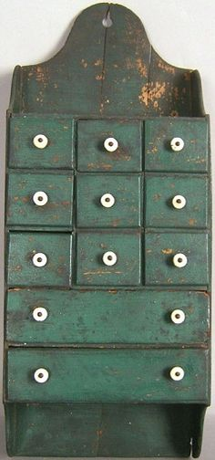 Hanging seed cabinet, late c. Or rout a plain wooden cupboard door to look like drawers- then have 3 shelves inside. Primitive Cabinets, Primitive Furniture, Primitive Antiques, Country Primitive, Antique Furniture, Painted Furniture, Green Furniture, Primitive Decor, Spice Cabinets