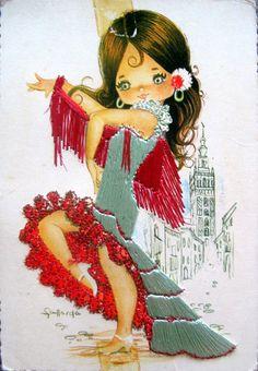 """Photo from album """"открытки разные"""" on Yandex. Vintage Cards, Vintage Postcards, Vintage Images, Illustrations, Illustration Art, Flamenco Dancers, Cute Dolls, Poster, Big Eyes"""