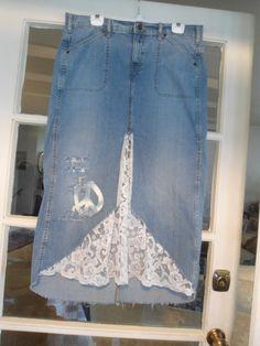 Plus Size 16 Upcycled Womens Lace Levi Denim by LandofBridget, $25.00