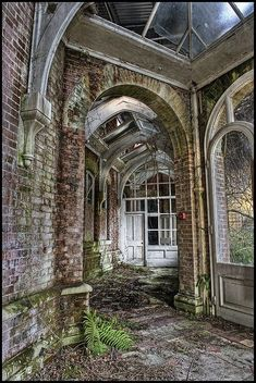 Abandoned conservatory at Lillesden Girl's School, Hastings Road, Lillesden, Hawkhurst, Kent. Formerly known as Bedgebury Lower School. A former mansion turned girls' boarding school which opened after World War I and closed down in 1999 due to general