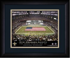 Your Name on a sign in Louisiana Superdome, Your Day at the Stadium.  Great gift for Saints Fans. Customize with your name on cards held by the fans and make it Your Day at the stadium.