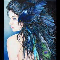 Holly Siniscal - Nevada  Bluebird - 16 x 14 inches  colored pencil, pen, ink