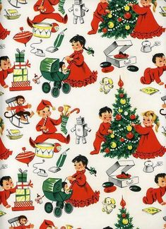 Christmas Morning Retro Kids With Gifts Craft Fabric Block – Great for … - Fabric Crafts Vintage Christmas Wrapping Paper, Vintage Christmas Images, Christmas Gift Wrapping, Christmas Paper, Retro Christmas, Christmas Morning, Vintage Holiday, Christmas Pictures, Christmas Greetings