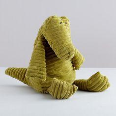 The Land of Nod | Kids' Stuffed Animals: Green Corduroy Alligator Plush Toy in Dolls & Plush Toys