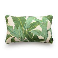 Shop Banana Leaf Lumbar Pillow, tropical jungle design in shades of green. Antique Door Headboards, Banana Palm, Tropical Bedrooms, Decorative Cushions, Lumbar Pillow, Throw Pillow Covers, Greenery, Cotton Linen, Coastal Interior