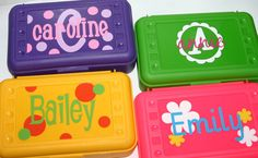 Personalized Pencil Crayon Box / Art Supply by happythoughtsgifts, $10.00
