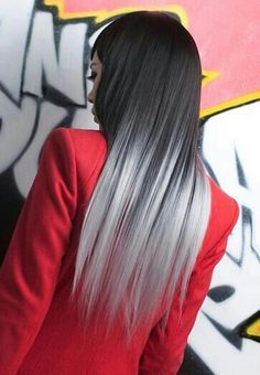I love this hair color..natural dark color going to dark and light gray..want to make this on my hair
