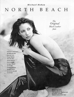 Christy Turlington in North Beach Leather pants - 1993 - Black Leather Jeans, Leather Pants, Beach Editorial, Leather Store, Timeless Photography, 90s Models, North Beach, Whimsical Fashion, Fashion Photography Inspiration