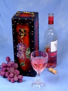 Wine Caddy with Hand painted flowers and metal by MissPattisAttic, $12.00