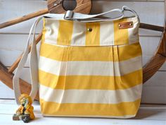 Ready To Ship.WATERPROOF Diaper bag / Shoulder Bag / Everyday Purse / Sail Tote- STOCKHOLM Yellow and Ecru  Pleated  10 pockets. $89.00, via Etsy.