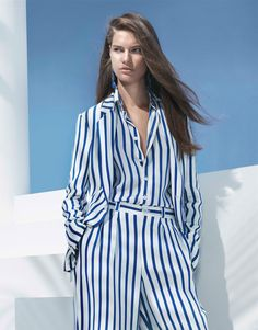 Bold stripes are borrowed from the boys and reimagined in lightweight, unlined silk crepe. From the #RLSpring2018 Collection. Click through to shop now.