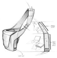 Messenger bag industrial design sketch by Matt Seibert